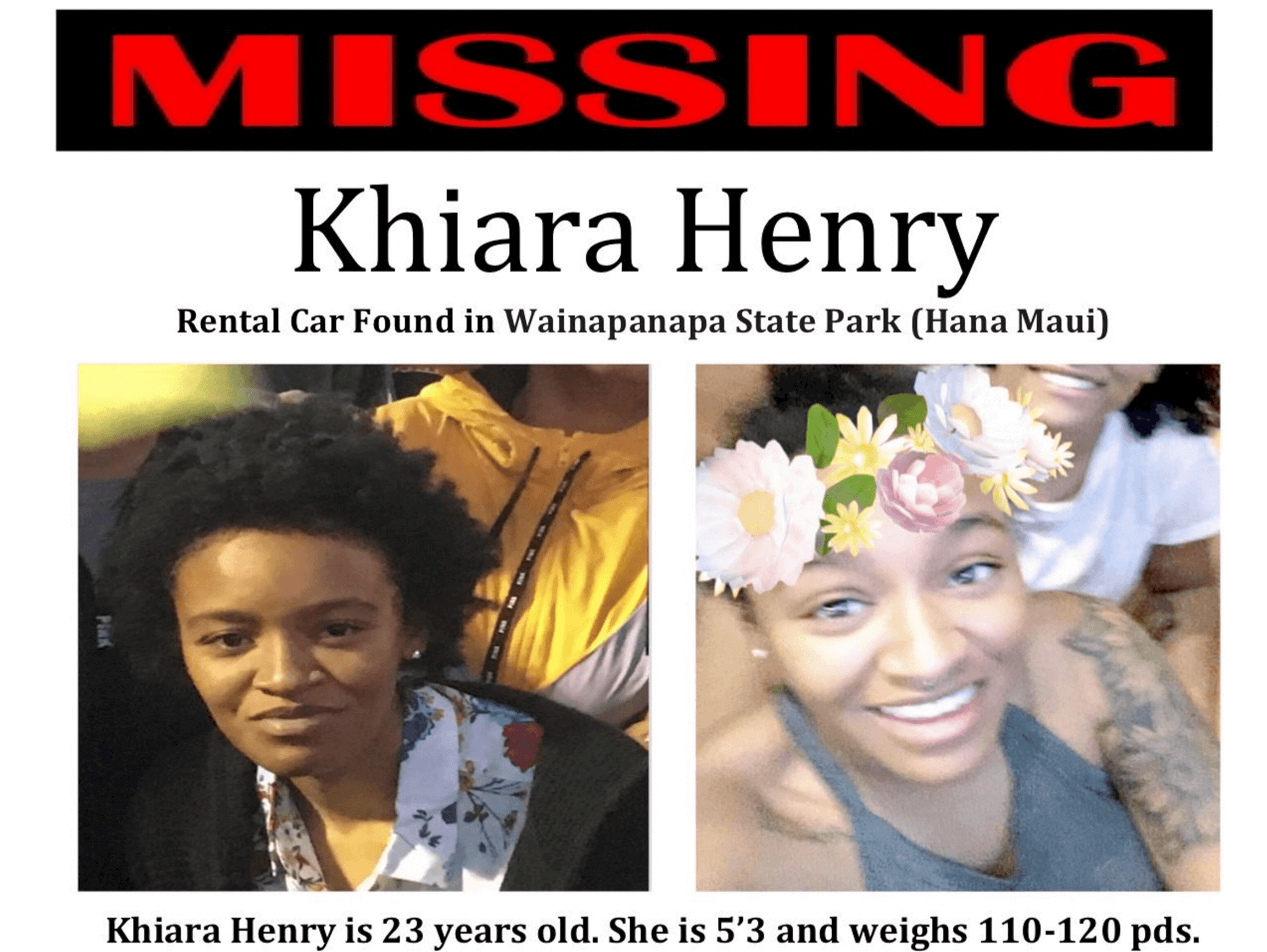 Missing poster of Khiara Henry, woman missing in Maui